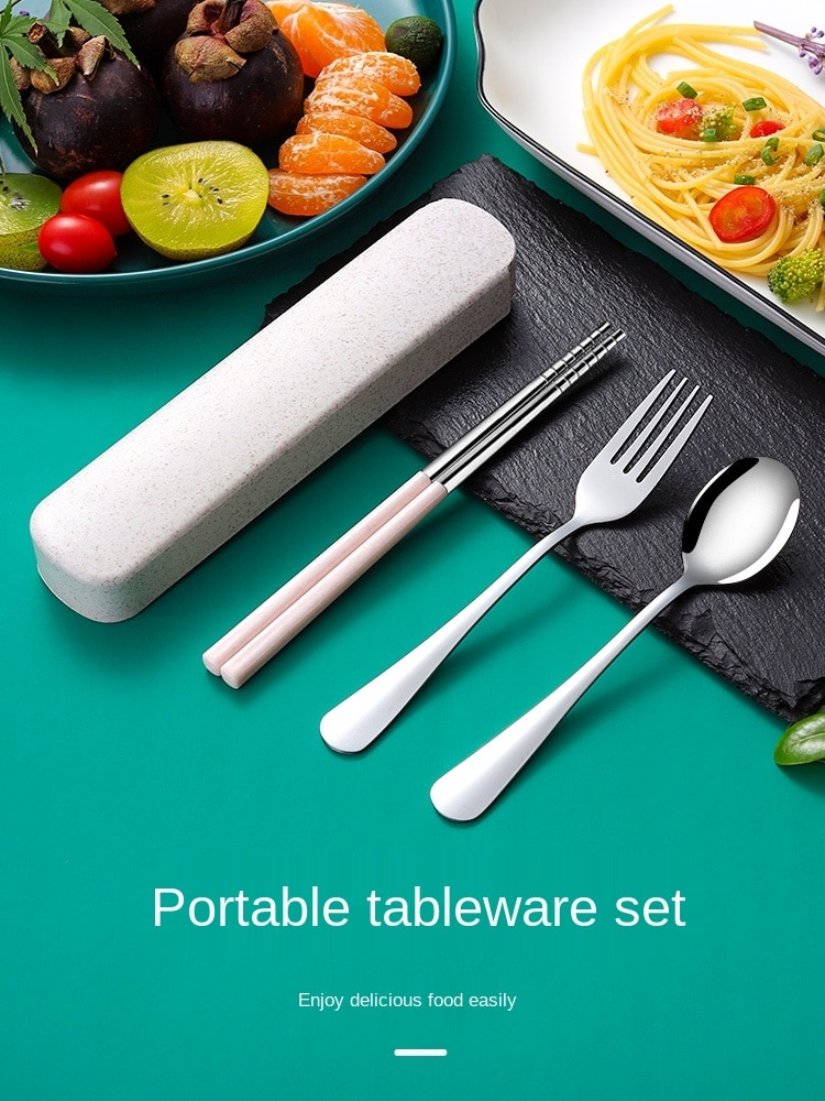 مجموعة أدوات المائدة المحمولة من الفولاذ المقاوم للصدأ ، عيدان الطعام ، 3 قطع ، شوكة ، ملعقة ، صندوق عيدان