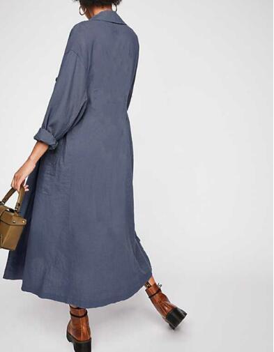 Тренчкот женский джинсовый, модная Ветровка из хлопка и льна, длинная двубортная верхняя одежда из денима, пальто на осень