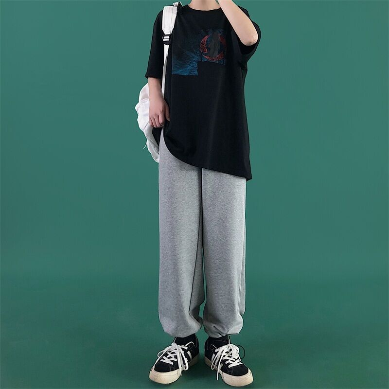 for Women 2021 New Korean Ins Trendy Summer Straight Sports Casual Loose Versatile Ankle-Banded Pant