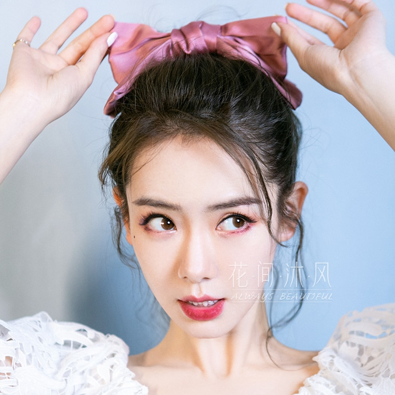 Qi Wei Same Product Big Bow Hairpin Back Head Clip Pink Girl Heart Cute Hairpin Hair Accessories Hea