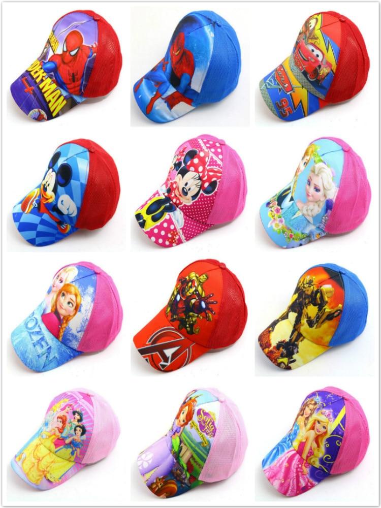Хлопковые бейсболки для маленьких мальчиков и девочек, детские милые сетчатые кепки, популярные детские Снэпбэк кепки с героями Диснея, Мик...