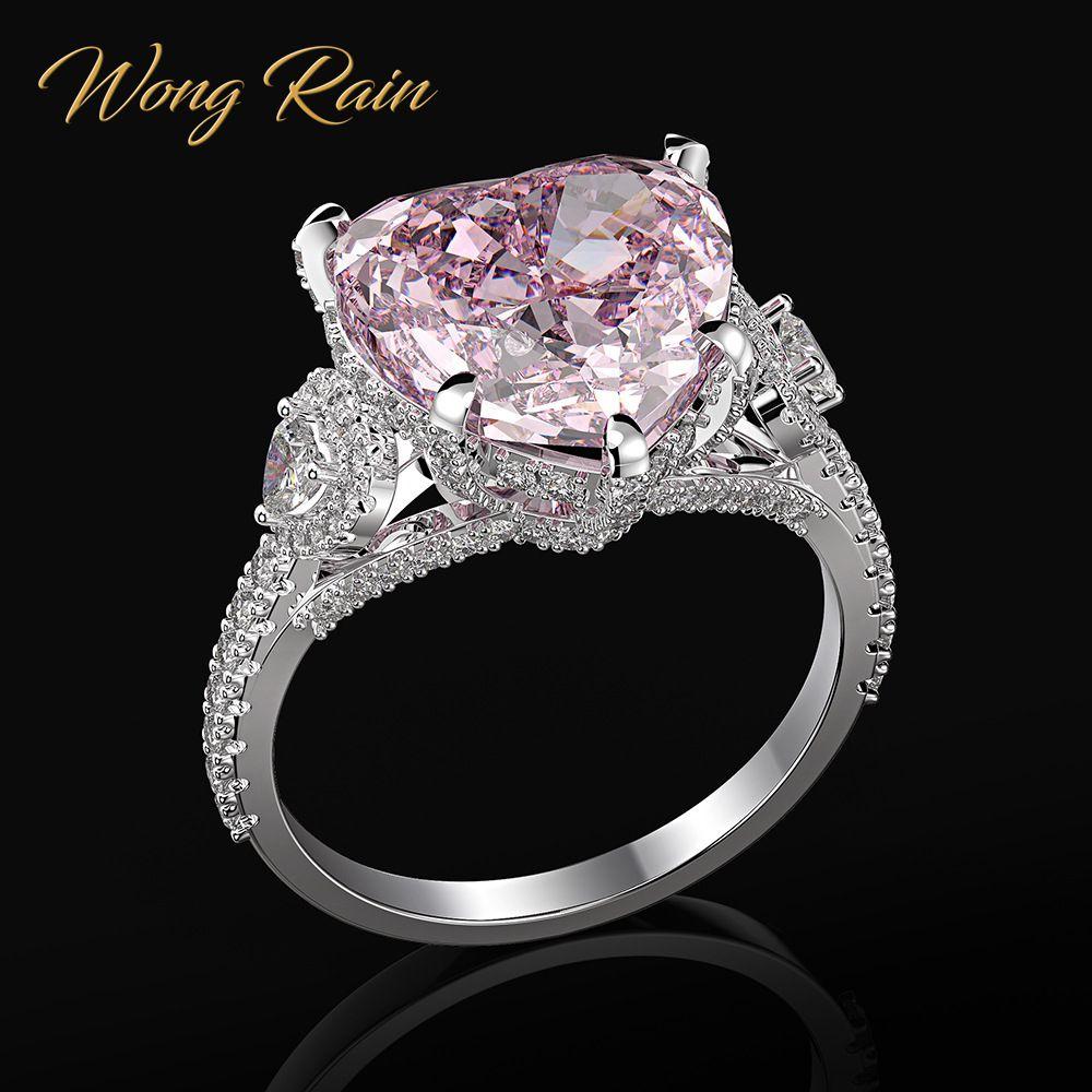 Wong chuva romântico 100% 925 coração de prata esterlina rosa safira pedra preciosa casamento noivado diamantes anel jóias finas por atacado