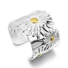 Bohemian kadın 925 ayar gümüş bilezik geniş katı gümüş açılış tasarım çiçek bayanlar popüler takı kadın aksesuarları