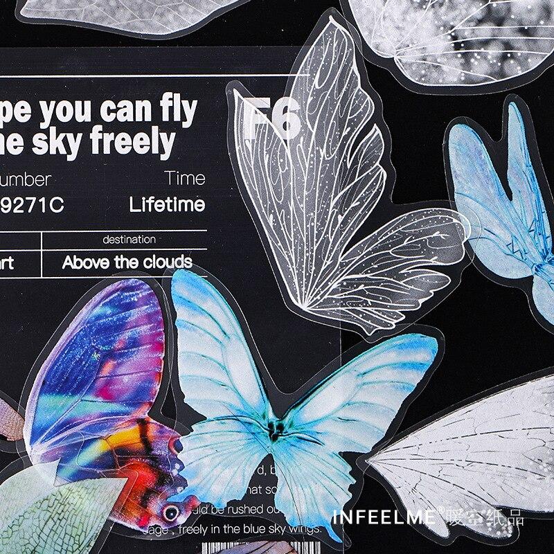 30 pçs/lote Cósmica Bolha Série Papelaria Decorativa PET Adesivos bonito borboleta Scrapbooking DIY Álbum Diário Vara Lable