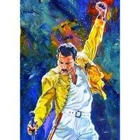 Peinture diamant theme Freddie Mercury  broderie complete 5D  perles carrees ou rondes  a bricolage soi-meme  mosaique  decoration dinterieur  cadeau