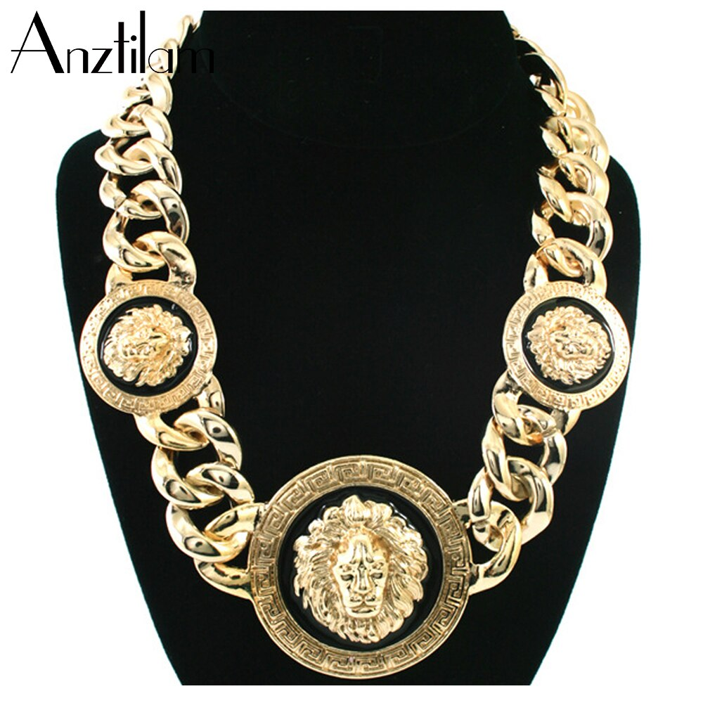 Hip Hop 3 Lion Heads Punk Gold Plated Cuban Chain Pendants Necklaces Statement Girl Jewelry Chokers Collar Drop Shipping