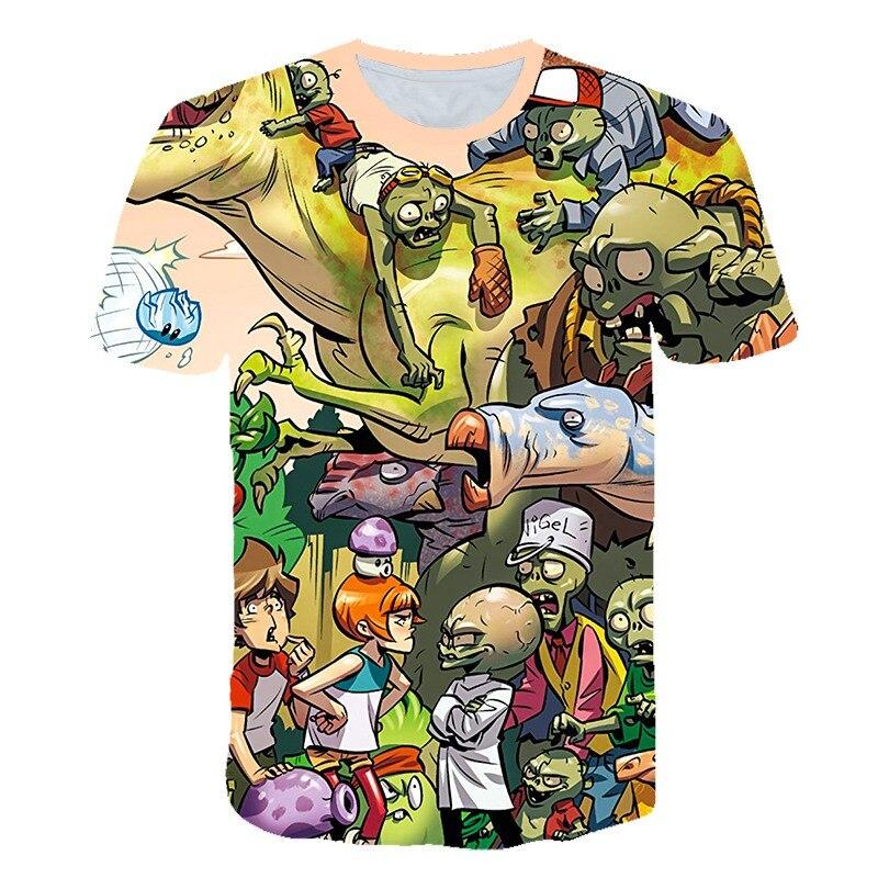 Verano niños plantas vs. Zombies camiseta 3D impresión Anime guerra camisetas plantas Vs Zombies Wars camisa 100% poliéster niños ropa