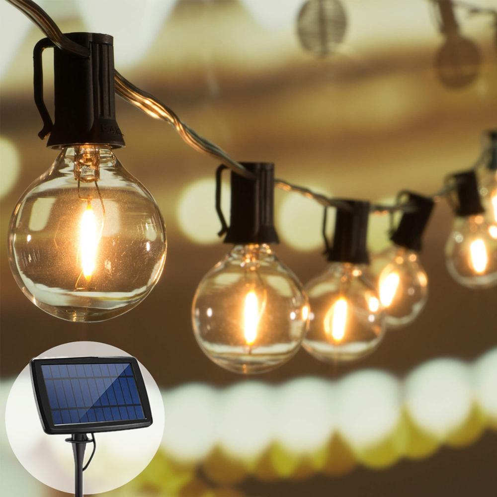 شارع جارلاند الشمسية في الهواء الطلق أضواء جارلاند عيد الميلاد الجنية أضواء الشمسية سلسلة ضوء الزفاف الديكور لحديقة G40 لمبة LED
