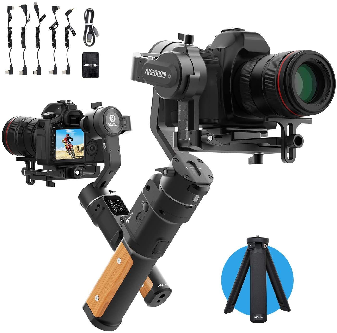 كاميرا FeiyuTech AK2000C مثبت انحراف مع شاشة لمس OLED متوافقة مع كاميرا DSLR Sony A9/A7series a6300 كانون M50