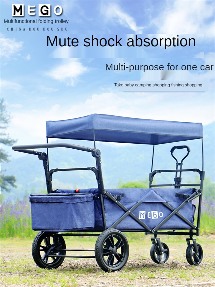 X Large Collapsible Folding Wagon Utility Outdoor Garden Cart with Canopy Cover All-Terrain Wheels Adjustable Push and Pull