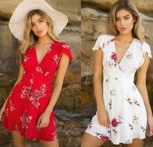 Brand New Hot Sales Womens Summer Boho Sexy Leisure Short Dress  Party Beach Floral Sundress