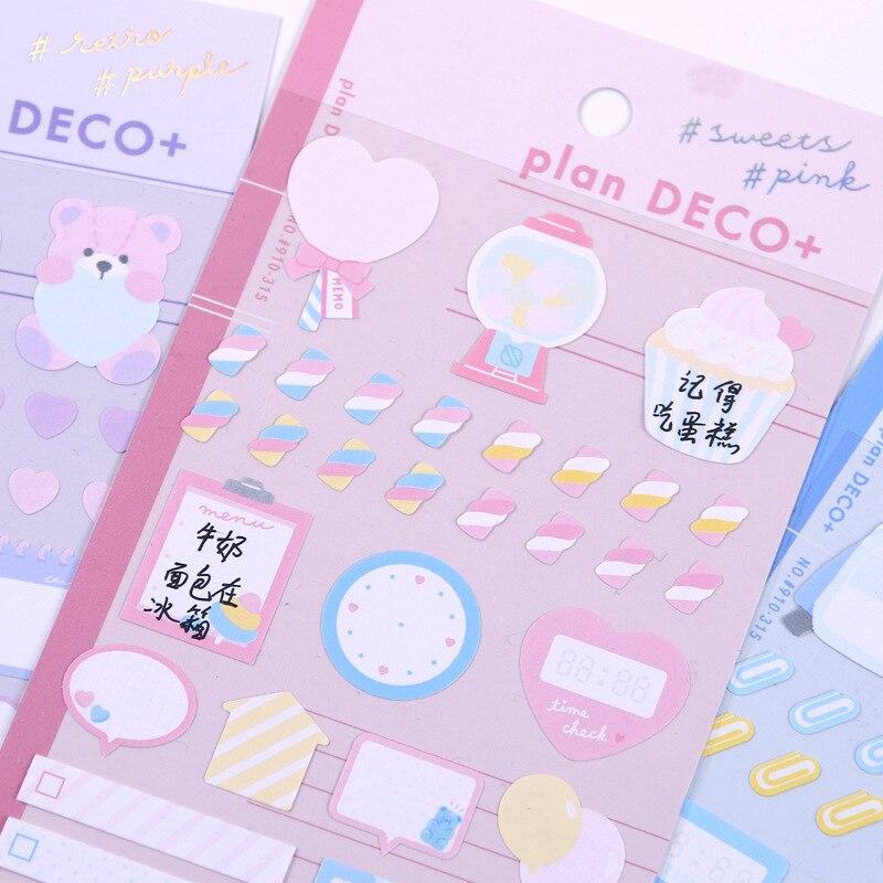 Pegatinas de papelería Kawaii, pegatinas bonitas y frescas decorativas para diario, pegatinas...