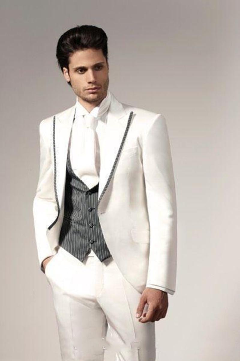 للرجال نقرة واحدة بدلة العريس الذروة التلبيب للرجال بدلة زفاف/حفلة موسيقية/عشاء بدلة العريس سترة (سترة + بنطلون + سترة)