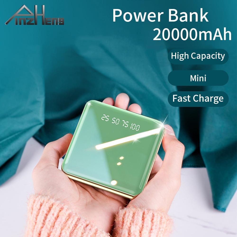 PINZHENG 20000mAh Mini Power Bank For Xiaomi iPhone Portable USB Charger Powerbank External Battery Fast Charging USB Powerbank