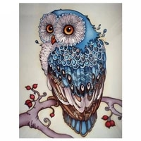 5d diy diamond painting owl cross stitch beautiful blue owl animal needlework home decorative 3d full square diamond embroidery