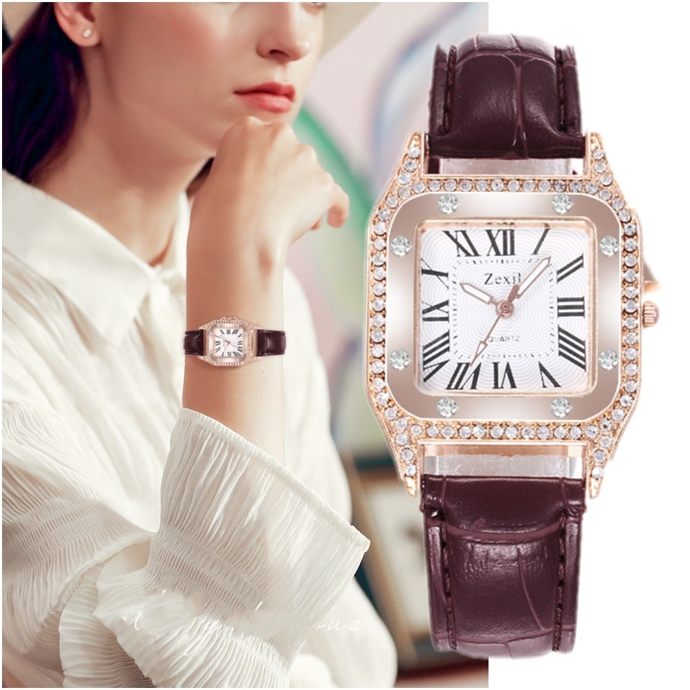 Women Starry Square Diamond Watch Vintage Luxury Ladies Quartz Wristwatch Female Clock Leather Band