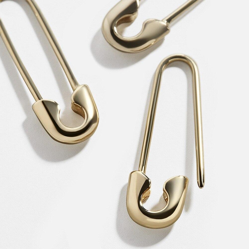 Diseño a la moda, clip de papel, pasador de seguridad, pendientes de mujer, pendientes llamativos de Metal dorado gótico, joyería para boda, accesorios para oreja