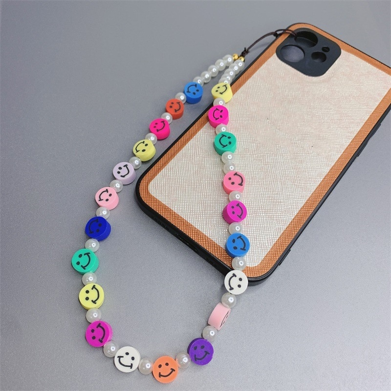 INS Acrylic Soft Pottery Colorful Round Face Mobile Phone Lanyard Imitation Pearl Phone Chain for Women Girls Jewlery Gifts