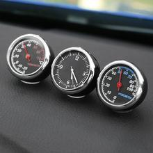 Car Interior Mini Quartz Watch Clock Hygrometer Thermometer Dashboard Ornament