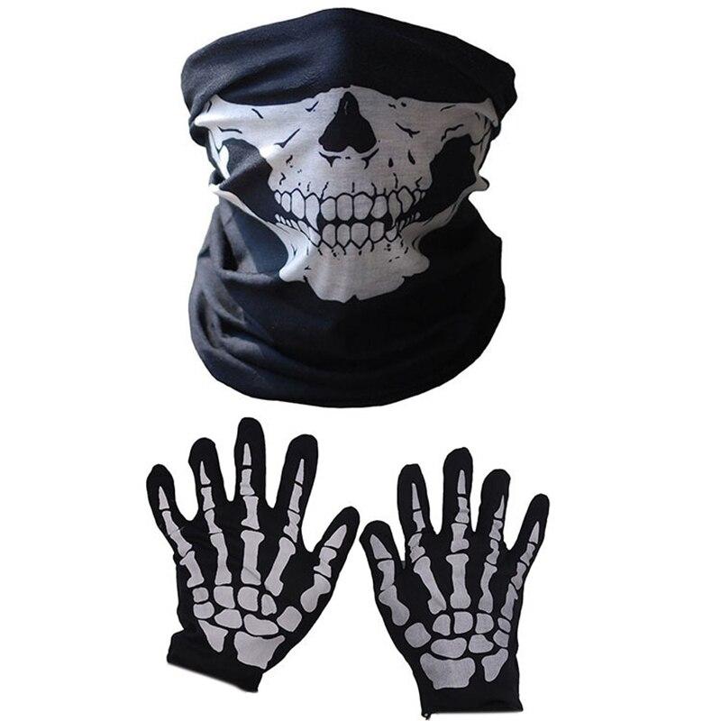 Máscara de halloween crânio assustador queixo máscara esqueleto fantasma luvas para performances, festas, vestir-se, festivais (3 peças/set)
