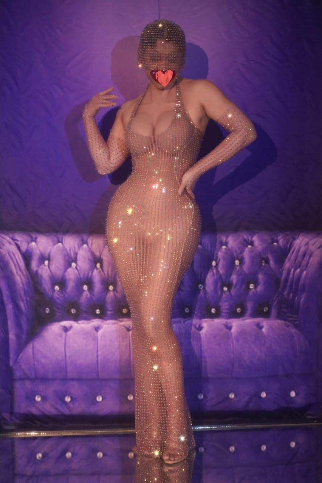 فستان شفاف مثير للحفلات ، فستان شفاف للمغنيات ، لحفلات أعياد الميلاد ، شبكة عارية ، فضي