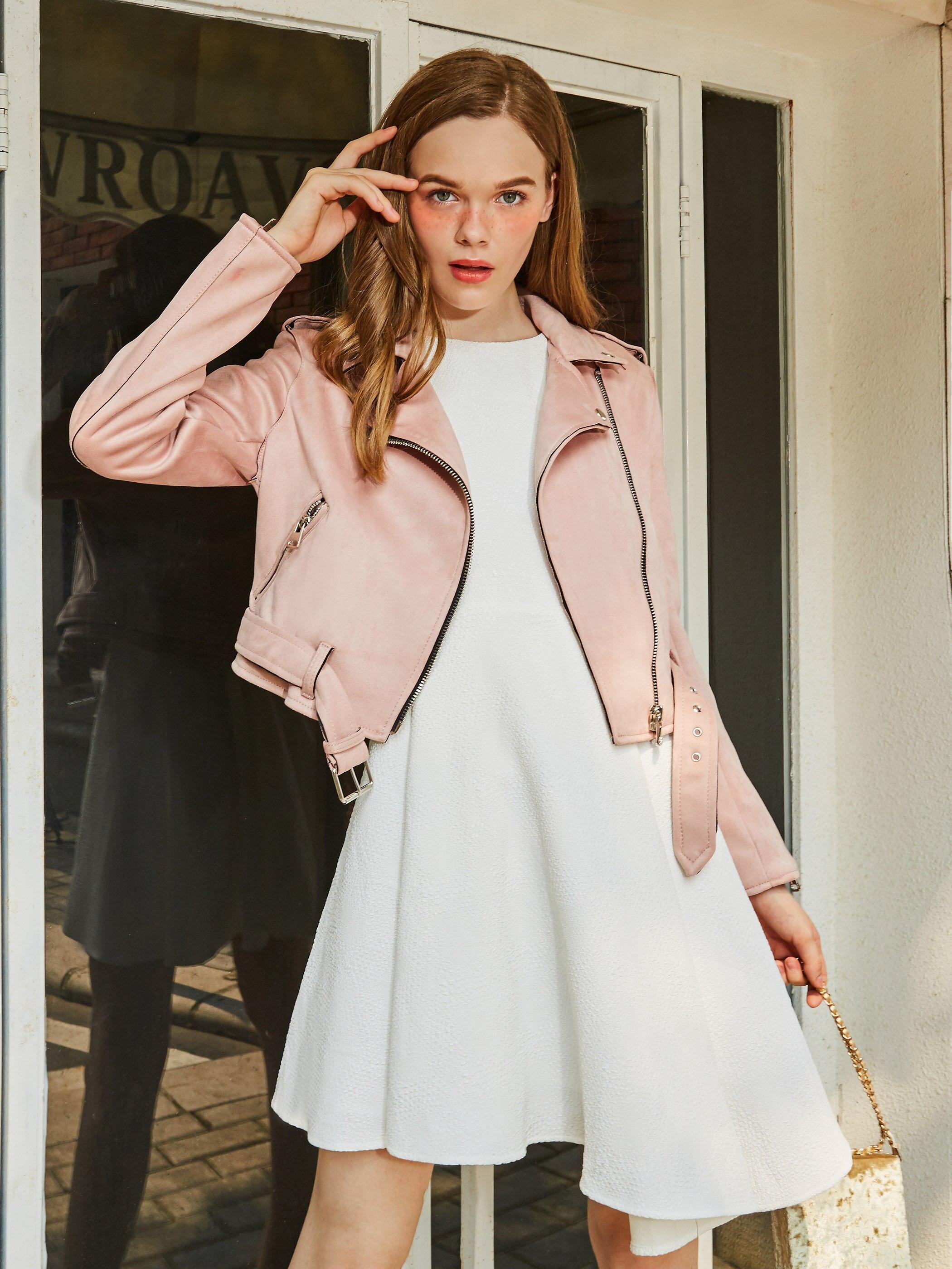 Chaqueta corta de ante Rosa coreana para mujer, cinturón ajustado nuevo de moda con cremallera para mujer, abrigo elegante de primavera y otoño, chaquetas informales de invierno OL