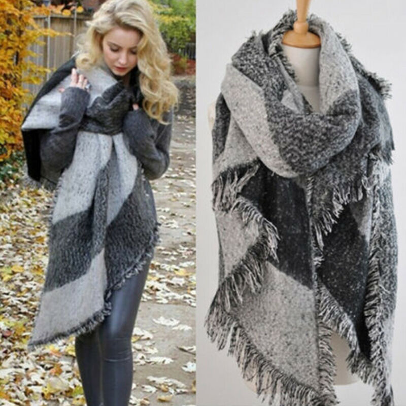 Зимние теплые модные большие шарфы женские толстые длинные кашемировые зимние шерстяные мягкие шарф в клеточку шаль шарф в клетку