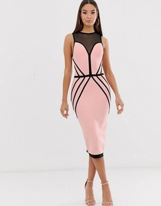 2019 Women Fashion pink lace round neck sleeveless bandage dress Vestidos Celebrity evening party bodycon dresses