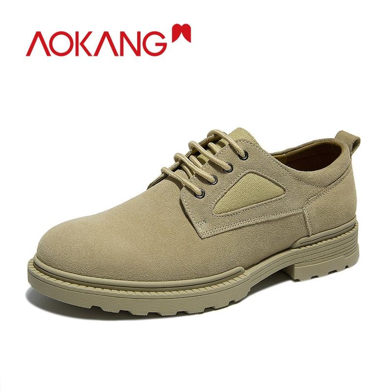 Aokang 2019 brogue sapatos casuais de couro dos homens de alta qualidade moda oxford sapatos para homens rendas até apartamentos zapatos hombre