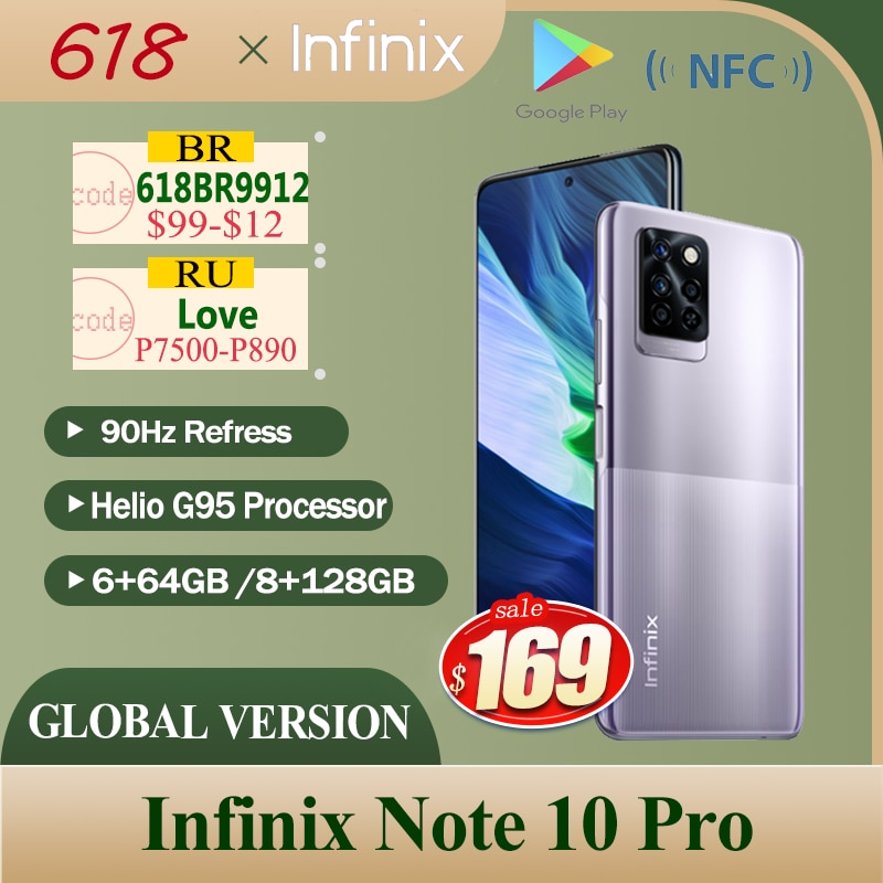 Infinix Note 10 Pro глобальная версия NFC Смартфон 6 + 64 ГБ/8 + 128 Helio G95 процессор 6,95 дюйм FHD + Экран 64MP Камера 90 Гц Refress