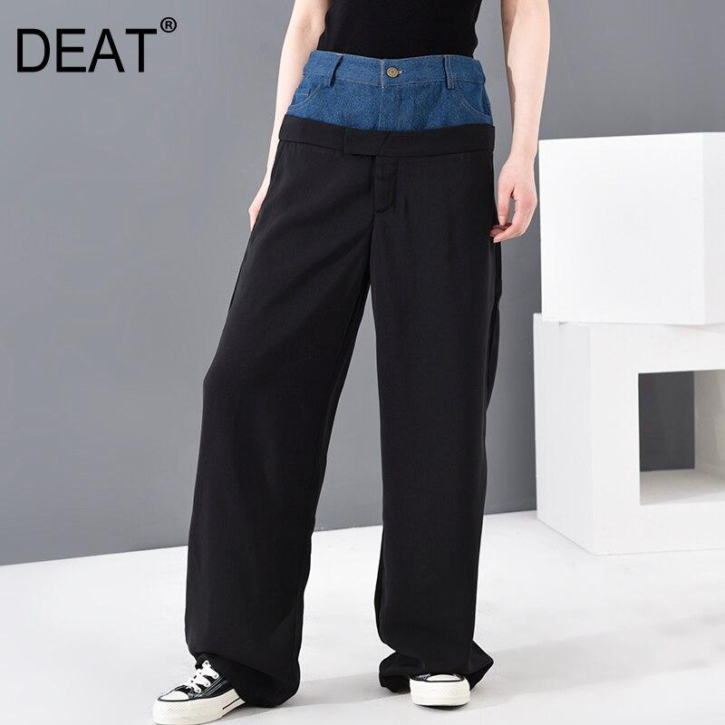 DEAT 2020 nueva moda de primavera ropa de mujer de alta cintura denim de longitud completa traje de patchwork pantalones individuales pantalones de oficina WG90417M
