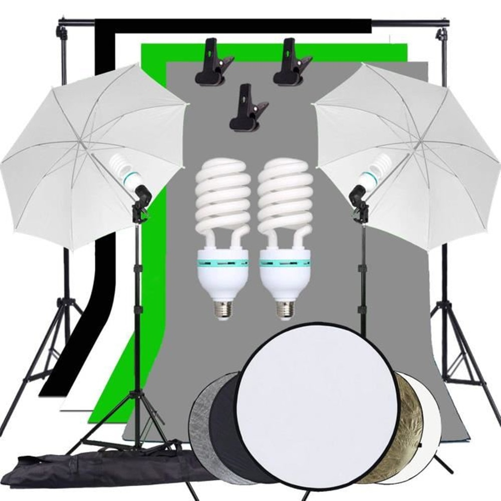 Fondo de estudio de fotografía ZUOCHEN paraguas con iluminación suave Kit soporte de fondo