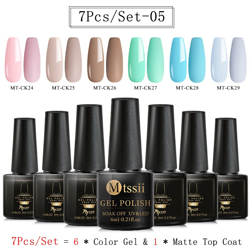 Mtssii 7pcs Gel Nail Polish Set 8ml Glitter UV Gel Set For Gel Varnish Manicure Set Uv For Nail Art