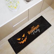 Halloween tapis antidérapant noir 40*120cm   Paillasson confortable en mousse à mémoire de forme, flanelle, paillasson de cuisine au sol