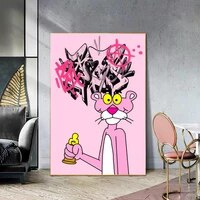 cartoon pink panther canvas pritns posters modern graffiti artwork wall paintings cuadros decorative pictures living room decor