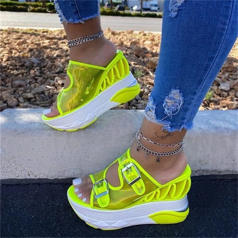 2020 Summer Women Transparent Sandals Ladies Platform Wedges Sandals Fashion Casual Double Buckle Straps Outside Shoes
