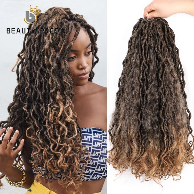 Bohemin de sirena Locs 20 pulgadas sintético Crochet trenzado cabello 18 raíces/paquete Ombre extensión de cabello de ganchillo Afro las mujeres
