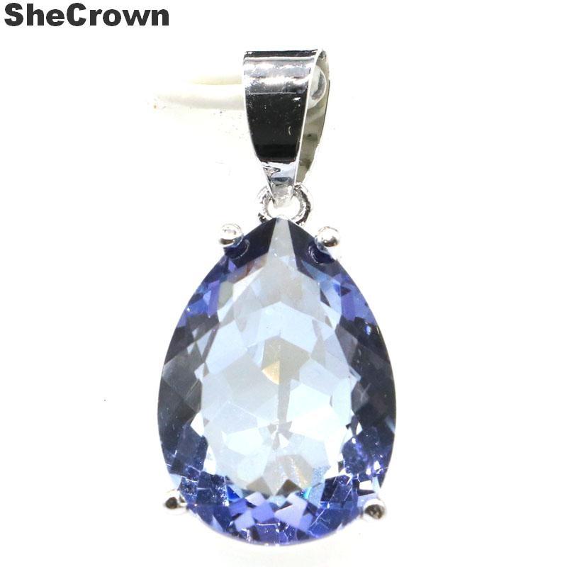 27x13mm gota de agua SheCrown 18x13mm Fuego Azul violeta Topacio místico regalo para hermana 925 colgante de plata