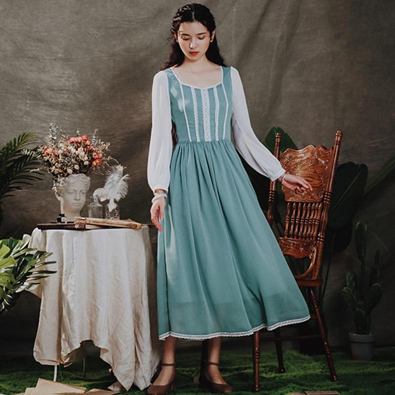 جديد فساتين للسيدات لربيع 2020 فستان كلاسيكي أنيق من الشيفون بأكمام طويلة من الدانتيل بلون أخضر نعناعي فستان سندريلا