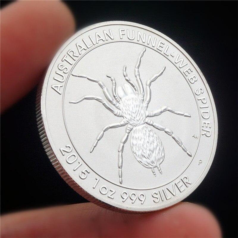 Серебряная копия 999 пробы, специализированная австралийская воронка, паутина, паук, Элизабет II, памятная монета, 2015
