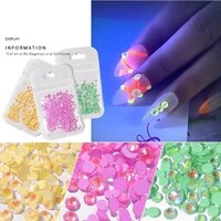 luminous diamond 2021 fluorescent super flash nail art accesorios decoration flat bottom diamond jewelry
