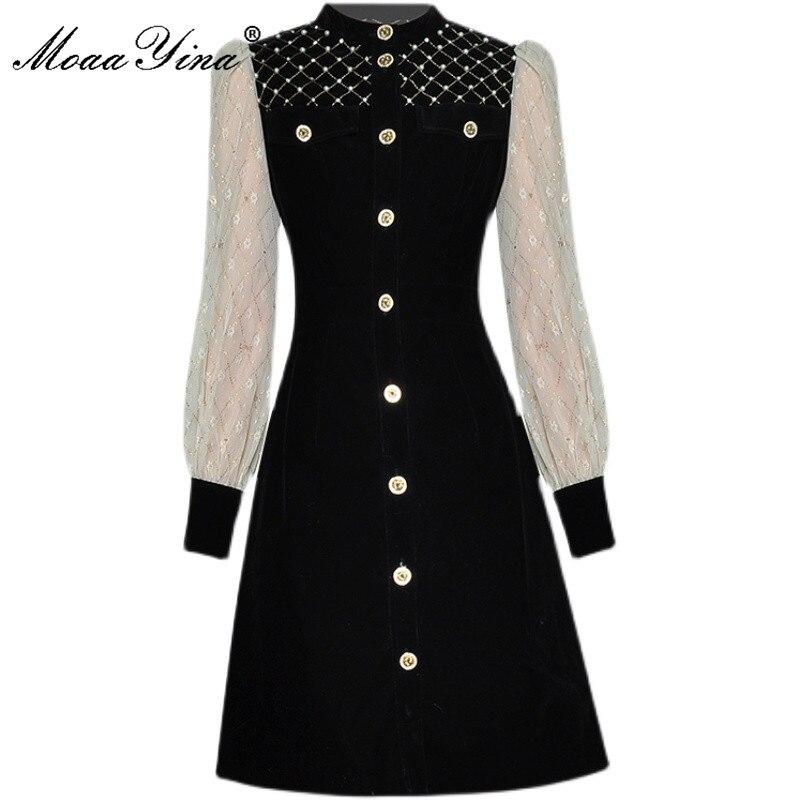 MoaaYina مصمم أزياء الخريف فساتين المرأة شبكة فانوس كم الخرز واحدة الصدر الأسود قصيرة المخملية فستان