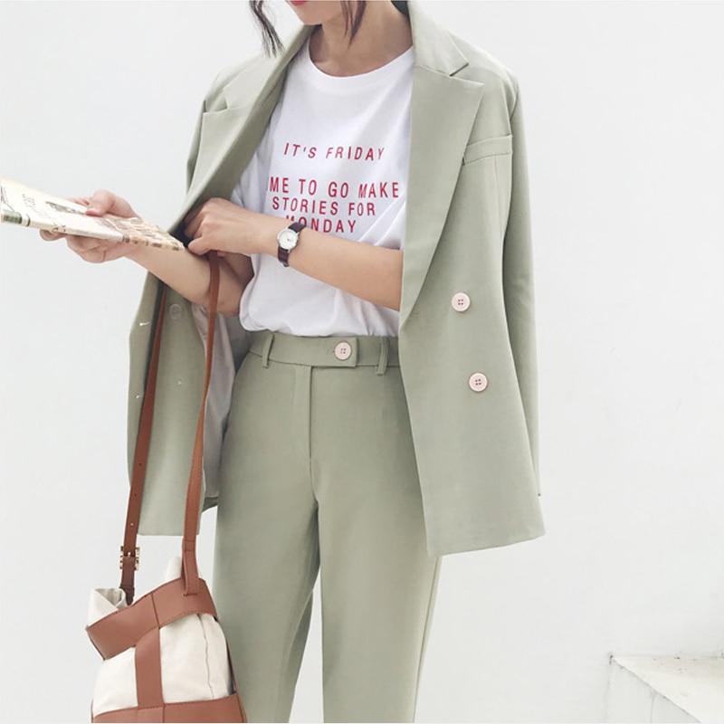 FMFSSOM Autumn Winter Thicken Women Pant Suit Light Green Notched Blazer Jacket & Pant 2019 Office Wear Women Suits Female Sets