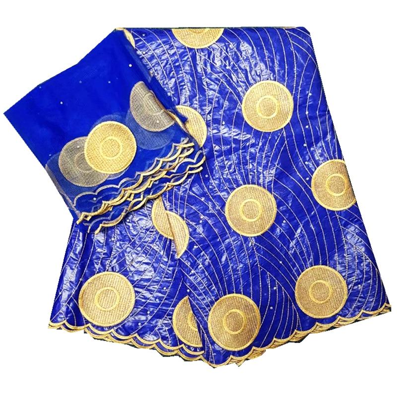 Venta al por mayor blanco africano Bazin Riche Getzner red encaje tela Jacquard bordado oro Bazin Riche para vestido de novia 7 yardas nuevo ¡!
