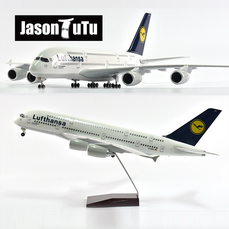 JASON TUTU-modelo de avión de 47cm, Lufthansa, Airbus, A380, escala 1/160, luz...