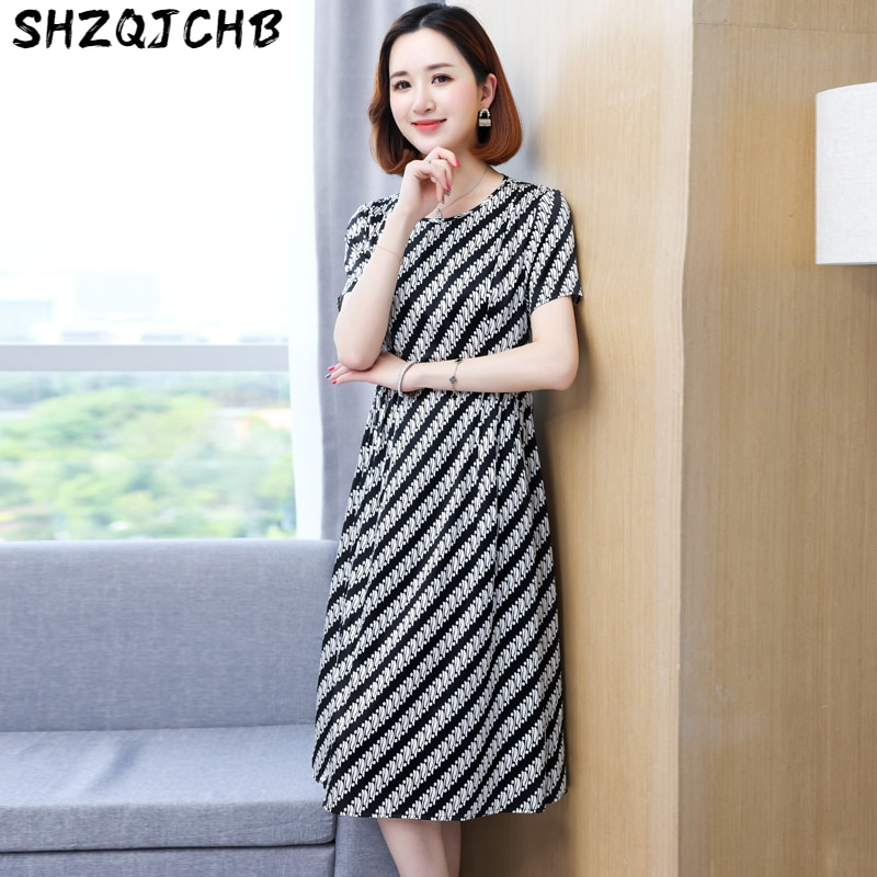 SHZQ Silk Dress Women's Summer New Striped Print Thin Medium Length Skirt Popular Mulberry Silk Skirt