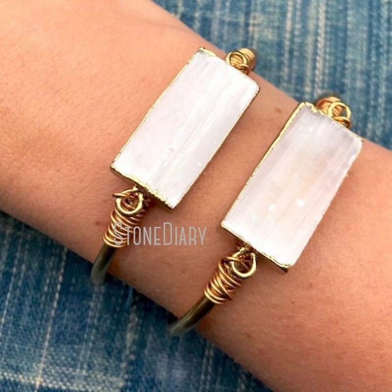 BM27696 Raw Selenite Bar Cuff Gold Bar Bracelet Raw Brass Adjustable Bangle White Selenite Charm Cuff Jewelry Bridesmaid Gift