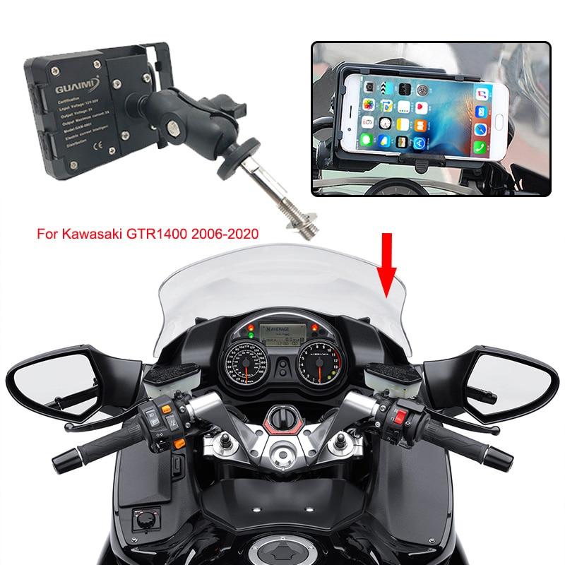 حامل الهاتف المحمول مع نظام تحديد المواقع العالمي للدراجات النارية ، شاحن دراجة نارية USB ، حامل ملاحة ، 1400 إلى 2006 بوصة ، لـ Kawasaki GTR1400 GTR 2020 4.0-6.3