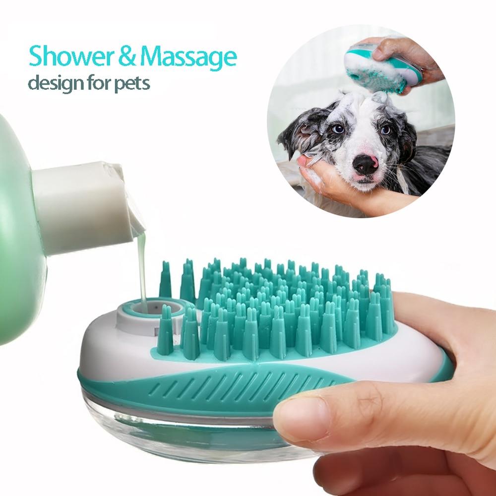 Furçë banje për qen shtëpiak 2-në-1 kafshë shtëpiake masazh SPA krehër butë dush flokësh silikoni pastrim flokësh krehër mjet pastrimi qen pajisje për kafshë