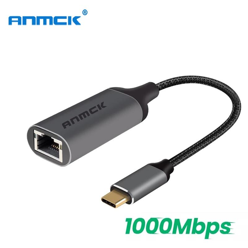 Adaptador Ethernet USB C RJ45, cable de extensión de red de 1000Mbps, convertidor tipo c para portátiles, MacBook Pro, USB-C a RJ45